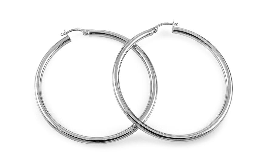 Náušnice kruhy z bílého zlata hladké 5,5 cm IZ11703A