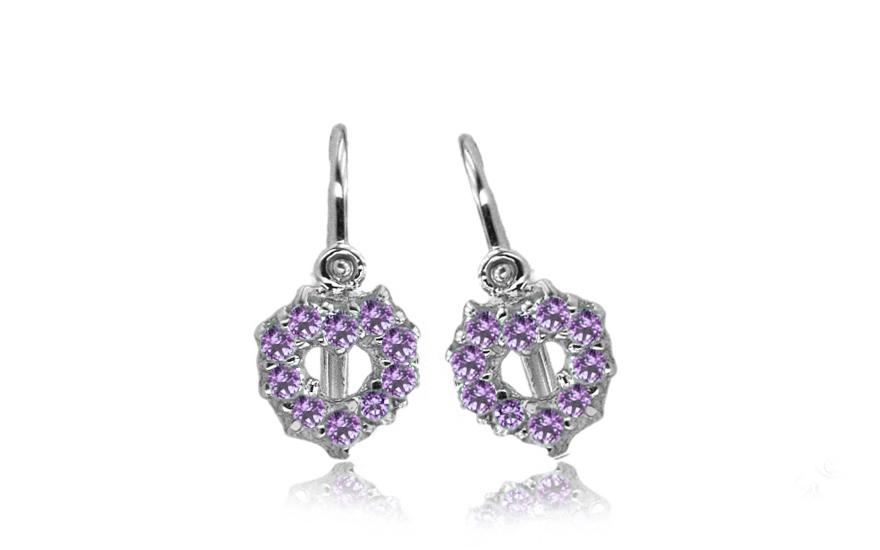 Náušnice pro miminko srdce s fialovými kamínky 1-339-0168F