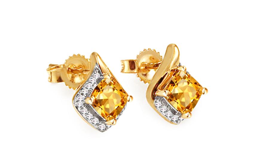 Náušnice s citrínem a diamanty 0,050 ct Amalia KU655CT