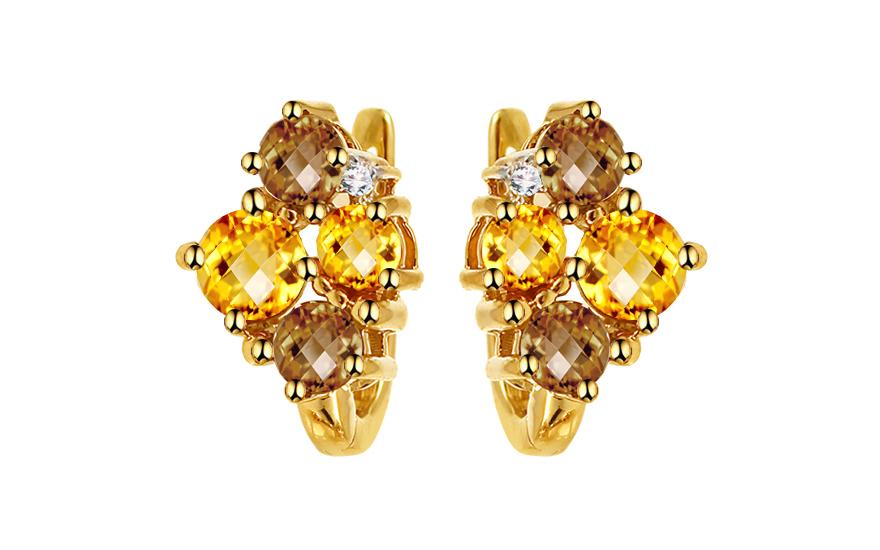 Náušnice s diamanty 0,030 ct a drahými kameny Floy KU677