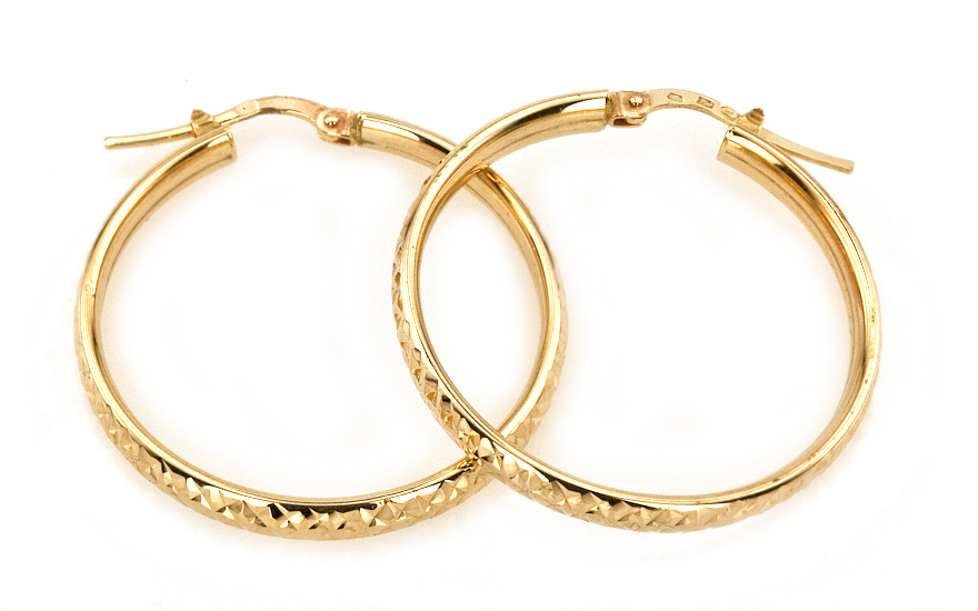 Náušnice zlaté kruhy 3,5 cm gravírované IZKA245