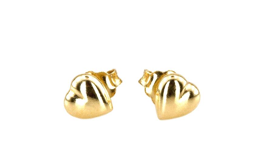 Náušničky pro dívku srdíčkové ze žlutého 14 karátového zlata IZ3411