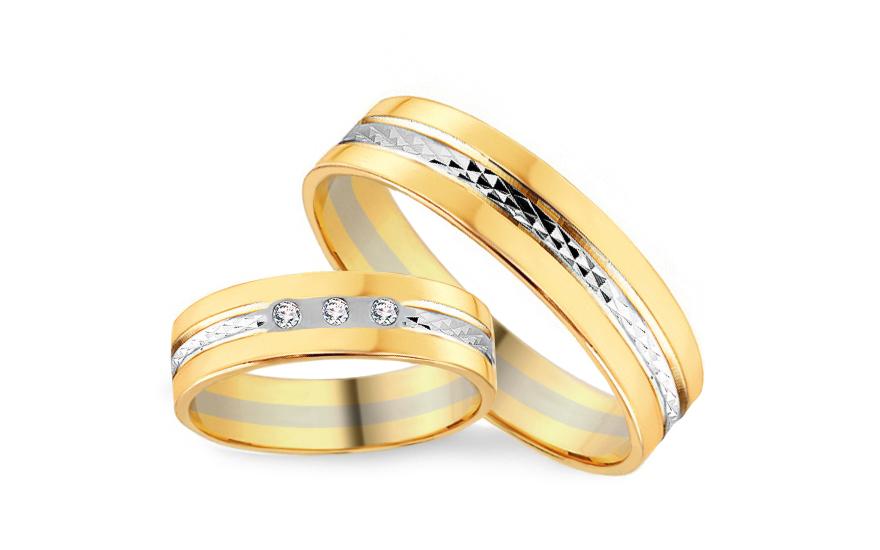 Snubní prsteny s diamanty 0,045ct šířka 5 mm CSOB110