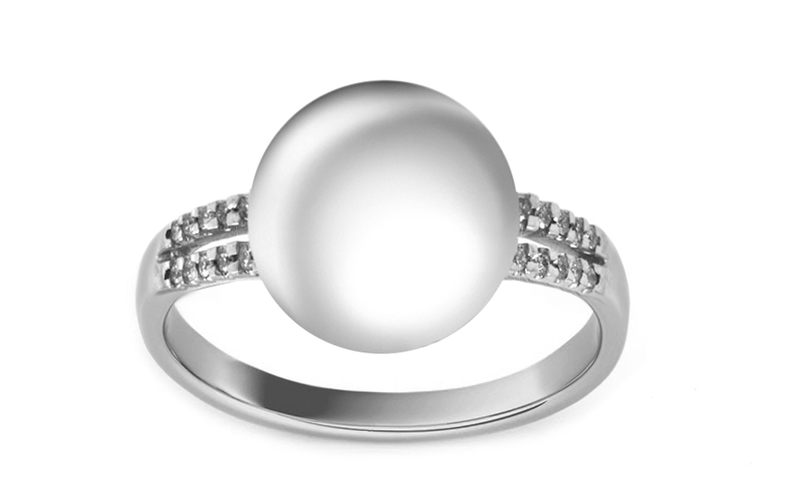 Perlový prsten s brilianty 0,106 ct Alegra PE154PN