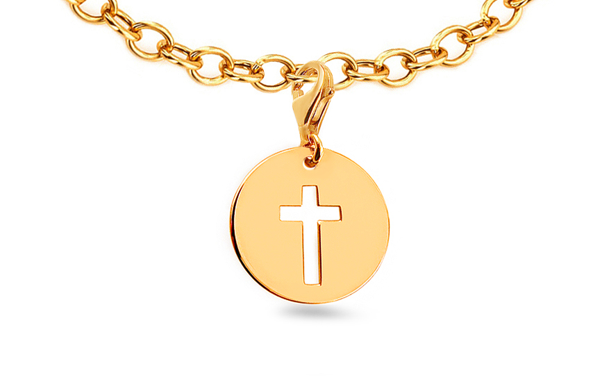 Přívěsek křížek na náramek nebo řetízek IZ9216