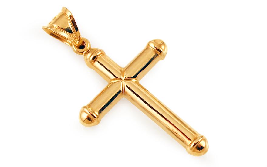 Přívěsek křížek ze žlutého zlata IZ3767