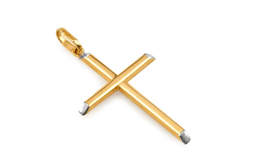Přívěsek křížek ze žlutého zlata IZ3768