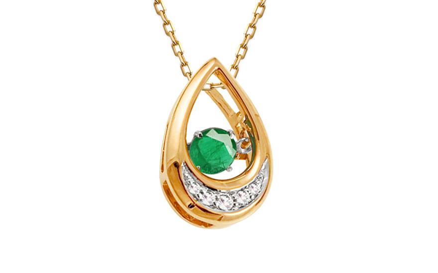 Přívěsek s brilianty a smaragdem Dancing Emeralds KU570P