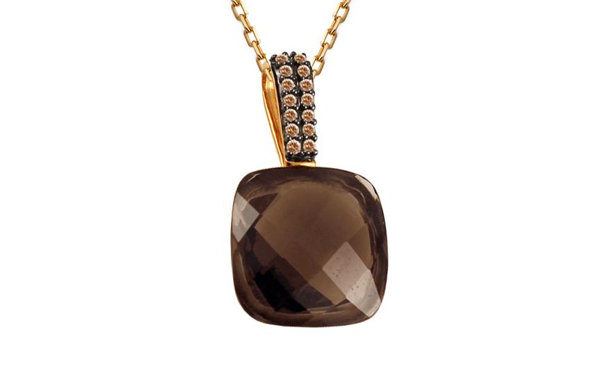 Přívěsek s kvarcitem a champagne diamanty Jeanine KU566P
