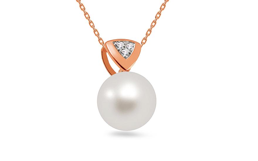 20ef47647 Přívěsek z růžového zlata s perlou a diamanty 0,015 ct Aliena - DB0121RP