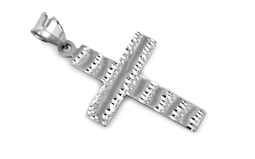 Zlatý přívěsek křížek gravírovaný KOPE170