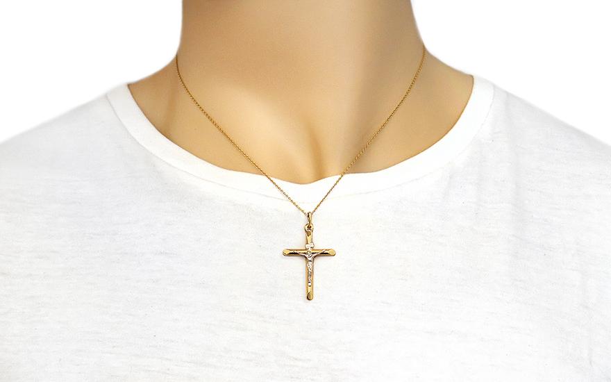 Zlatý přívěsek kříž s umučením IZ4613