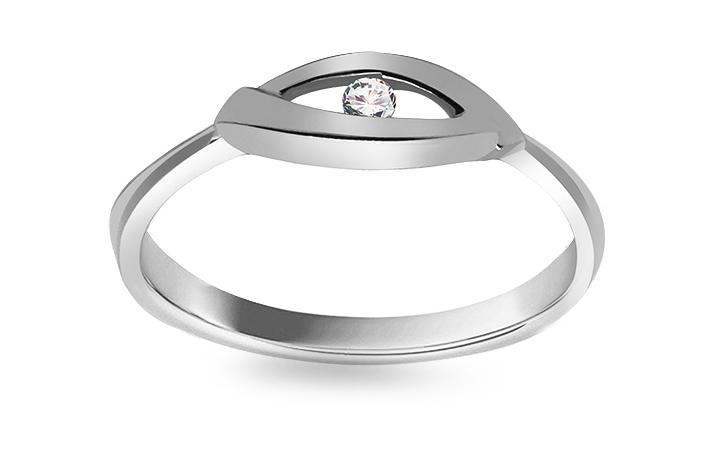 Prsten z bílého zlata s briliantem KU403