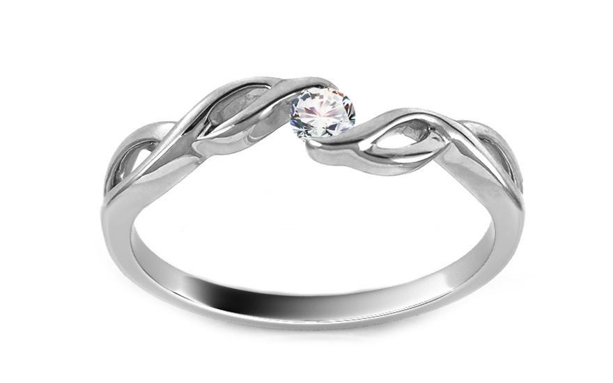 Prsten z bílého zlata s briliantem KU404
