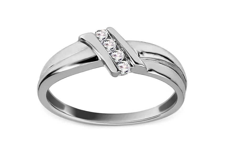 Prsten z bílého zlata s brilianty KU104A