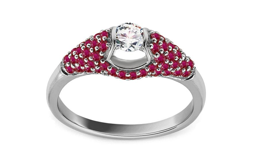 Prsten z bílého zlata s rubíny a diamanty 0,250 ct Lorrae KU960A