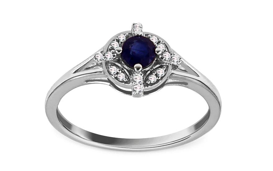 Prsten z bílého zlata se safírem a diamanty 0,070 ct Alarice KU826A