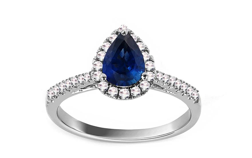 Prsten z bílého zlata se safírem a diamanty 0,240 ct Mairin KU892A