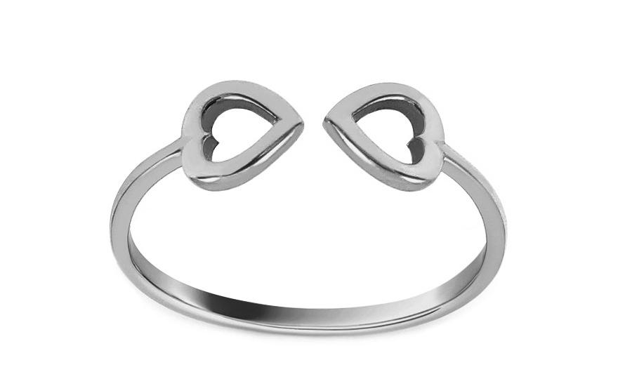 Prsten z bílého zlata se srdíčky IZ12920A