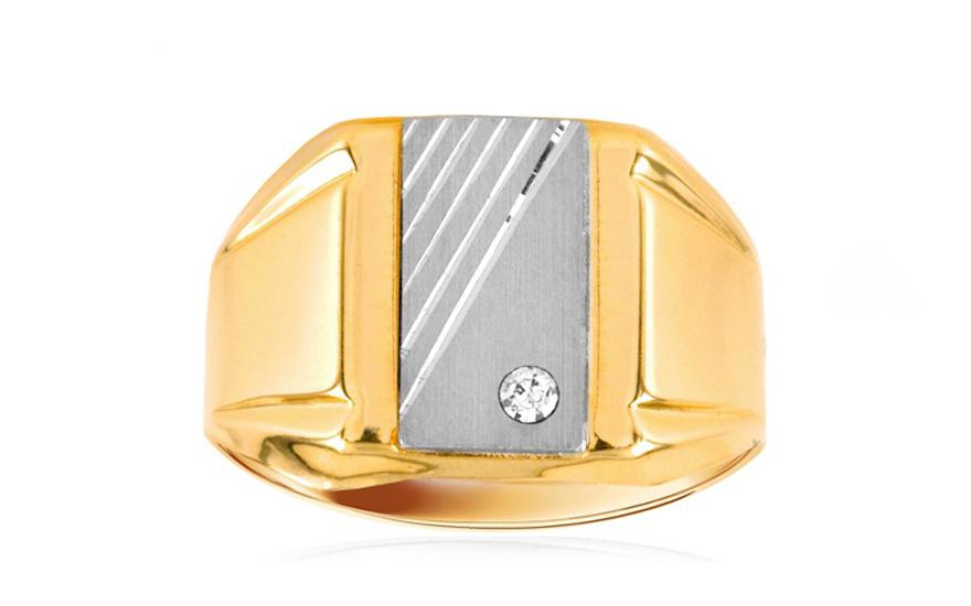 Zlatý pánský prsten se zirkonem IZ6979