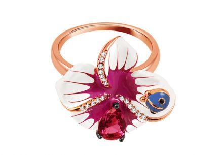 Stříbrný prsten Fialová Orchidej s růžovým zlacením Stříbrný prsten Fialová  Orchidej s růžovým zlacením 0365da48b3