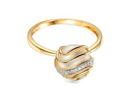... Zlatý prsten s perlou a diamanty 0.030 ct Chloris 5fd82a61736