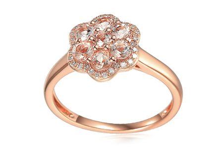 a6ebcdc89 Morganitový prsten z růžového zlata s brilianty 0,110 ct Květ ...