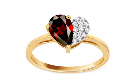 Prsten s granátem a diamanty 0,050 ct Loving Heart