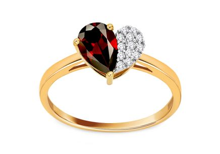 Prsten s granátem a diamanty 0,060 ct Loving Heart