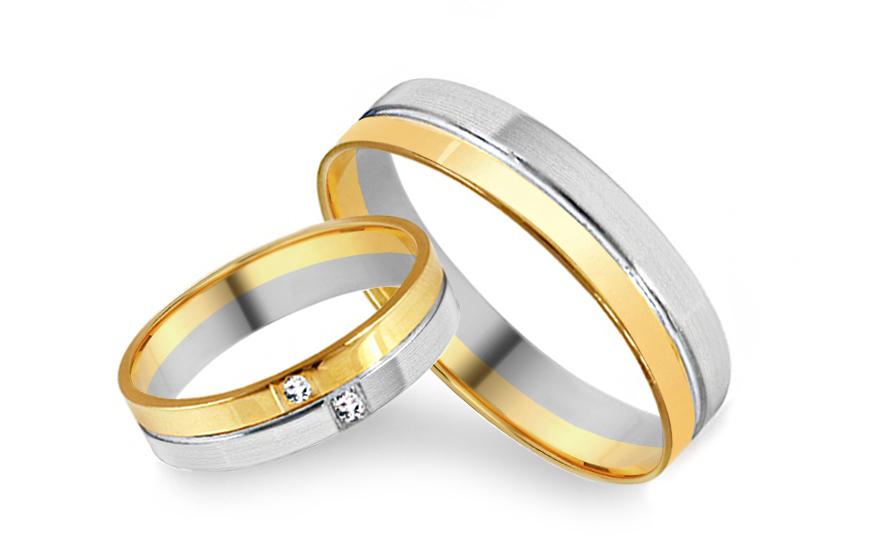 Snubní prsteny kombinované se zirkony šířka 4 mm IZOB012