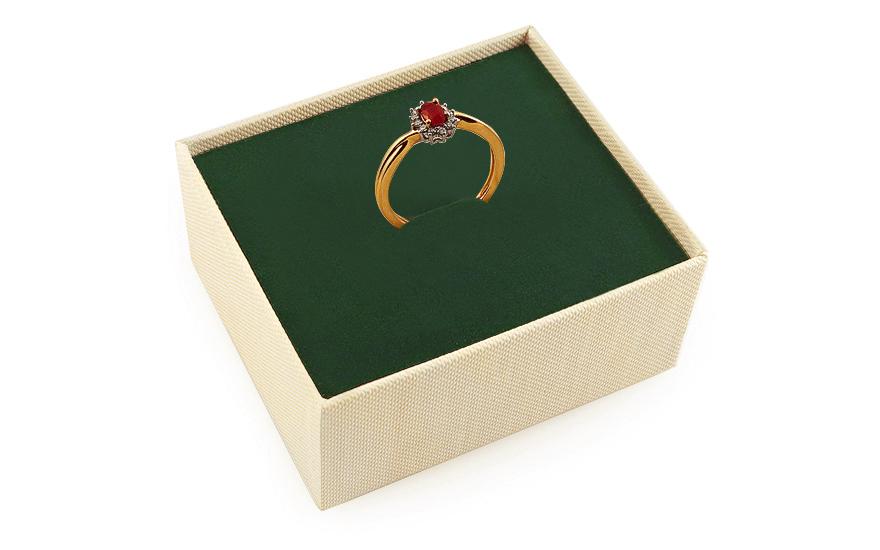Rubínový prsten 0,110 ct s diamanty Brienne KU0090
