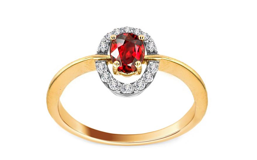 Rubínový prsten Brienne 4 se 14 diamanty 0,130 ct KU0002