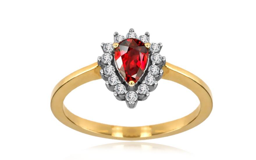 Rubínový prsten s brilianty 0,140 ct Brienne 7 KU167