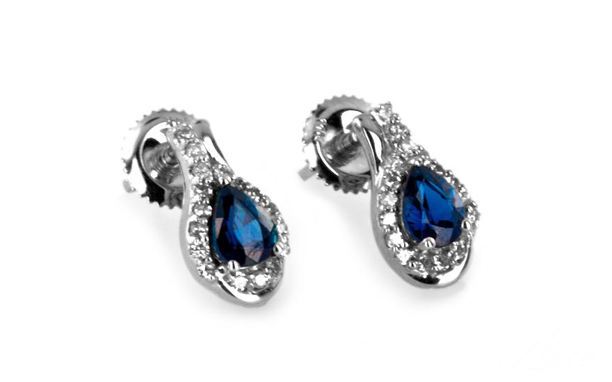 Safírové náušnice s diamanty 0,170 ct Jeyne 1 KU178N