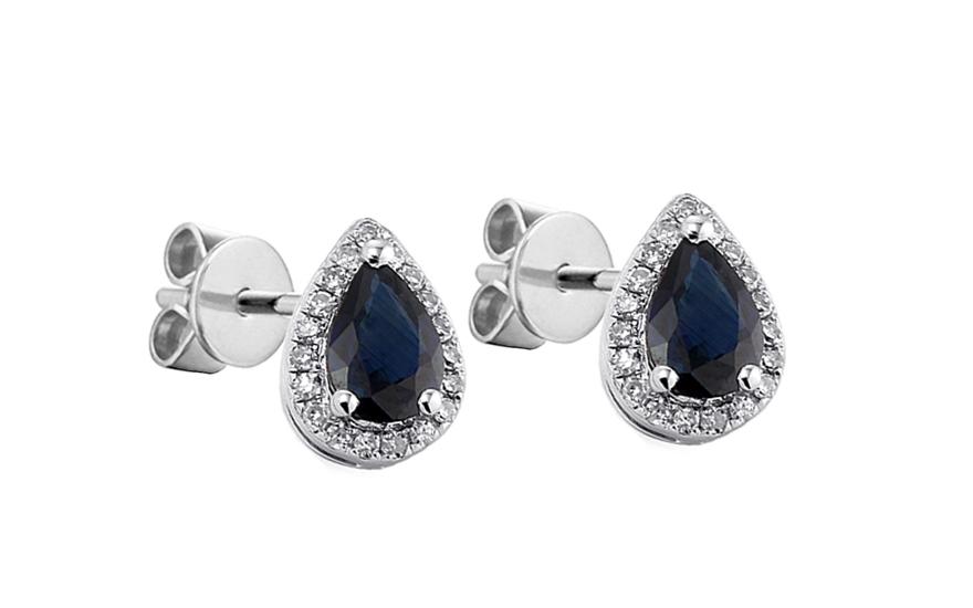 Safírové náušnice s diamanty Valora 1 IZBR100N