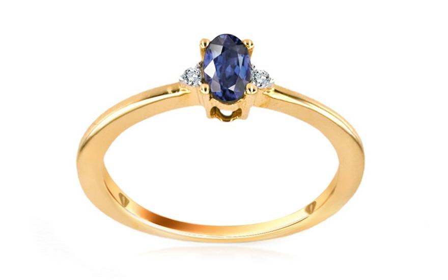 Safírový prsten s 0,020 ct diamanty Jeyne KU0051