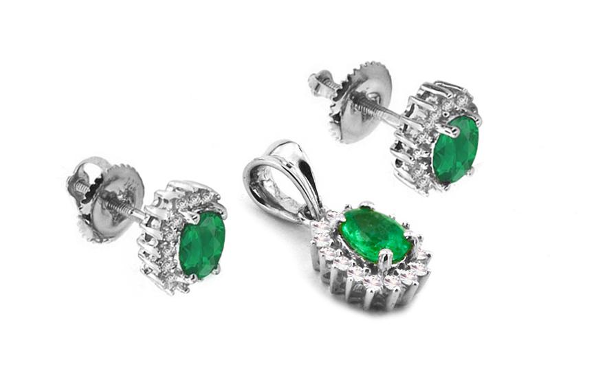 Smaragdová souprava TALEA 8 s diamanty 0,310 ct KU125