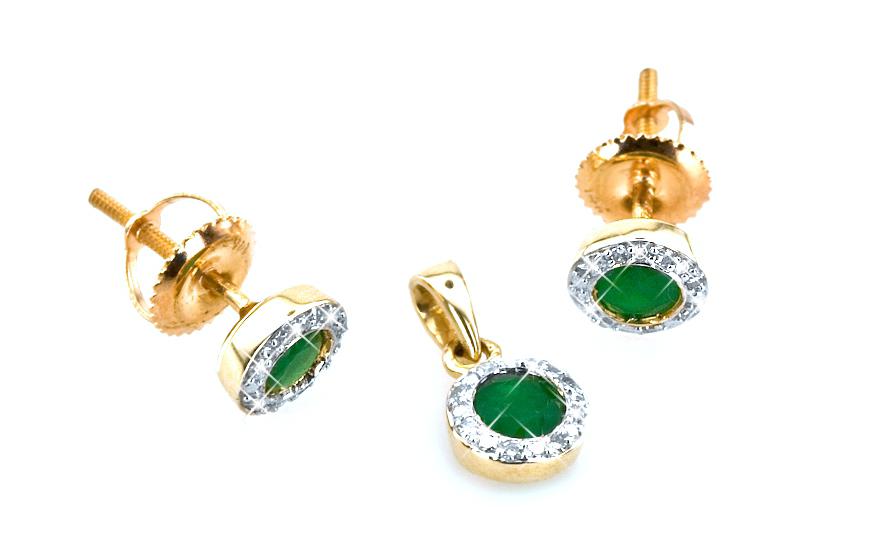 Smaragdová souprava TALEA s diamanty 0,090 ct KU0073