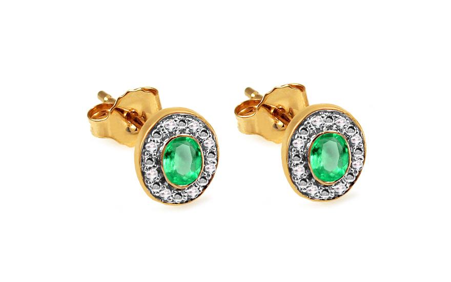 Smaragdové náušnice pecky s diamanty 0,050 ct Verena KU651EM