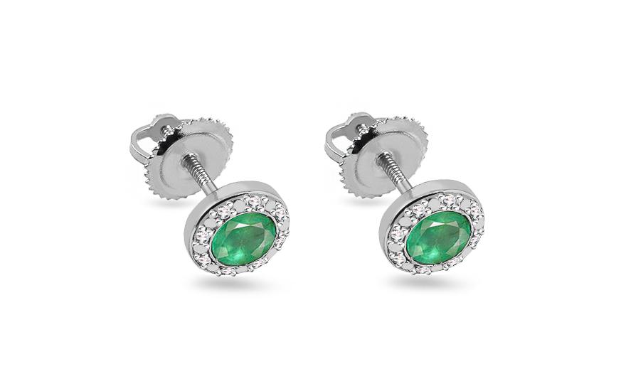 Smaragdové náušnice s brilianty 0 ffd57d20255