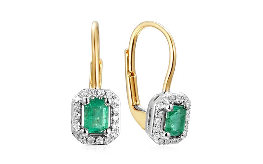 Smaragdové náušnice s diamanty 0,090 ct Jacquie IZBR177SN