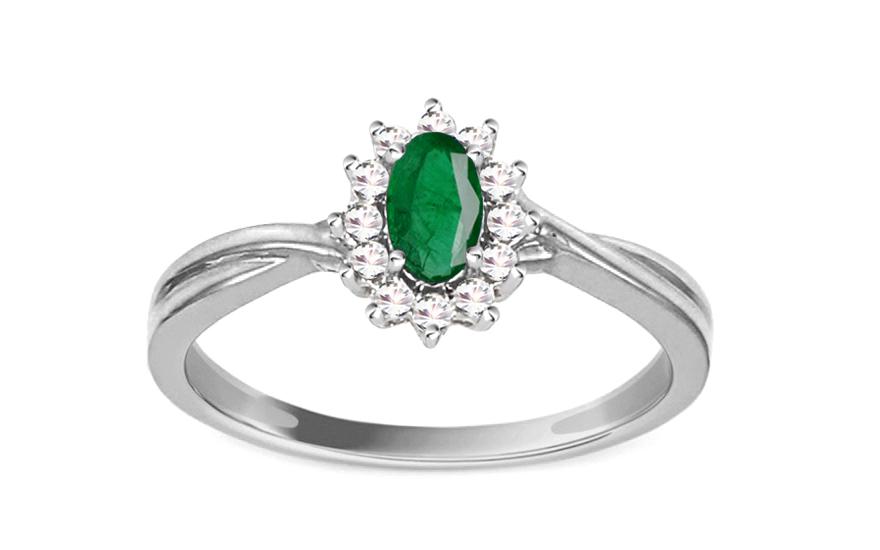 Smaragdový prsten s diamanty 0,110 ct Talea 6 KU0089A