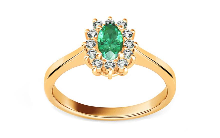 Smaragdový prsten s diamanty Follow Emotion 0,110 ct ARBR20Y