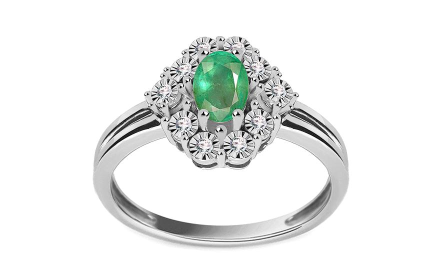 Smaragdový prsten s diamanty Lea KU513A