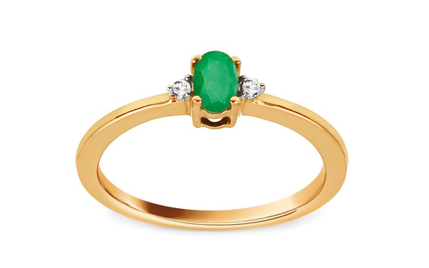 Smaragdový prsten TALEA 1 brilianty 0,020 ct KU119