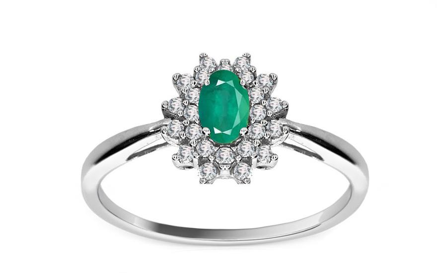 Smaragdový prsten TALEA 2 s 24 brilianty 0,250 ct KU111