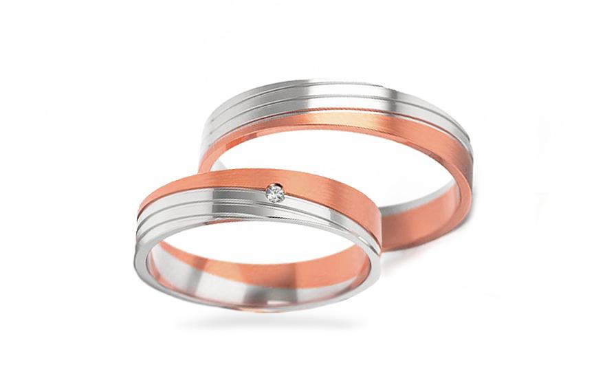 Snubní dvoubarevné prstýnky s kamínkem šířka 4,5 mm STOB299R