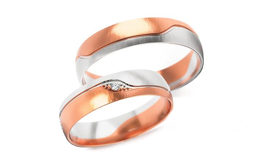 Snubní dvoubarevné prstýnky s kamínkem šířka 4,5 mm STOB301R