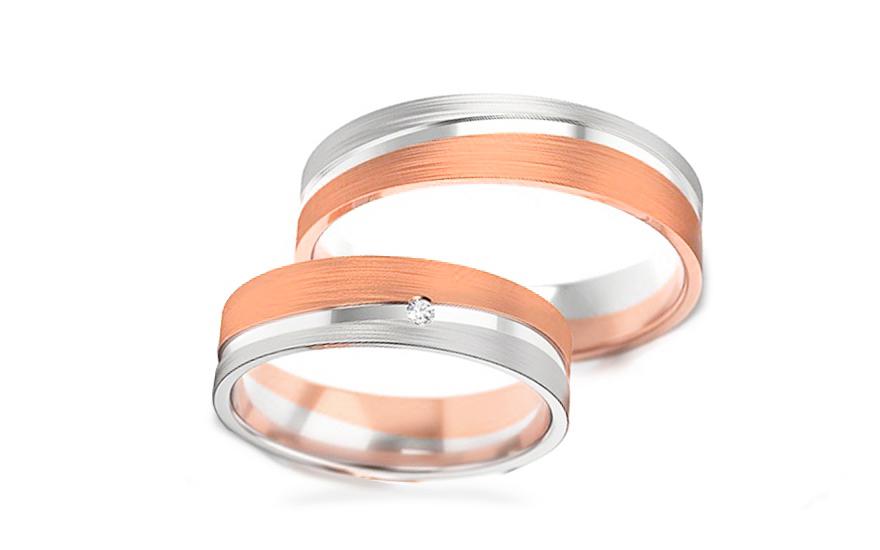 Snubní dvoubarevné prstýnky s kamínkem šířka 5 mm STOB300R