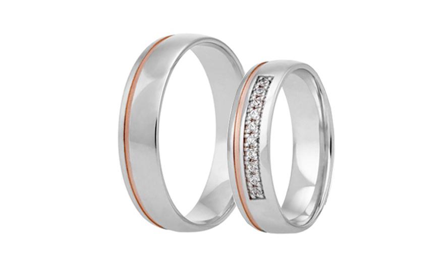 Snubní dvoubarevné prstýnky se zirkony RYOB305